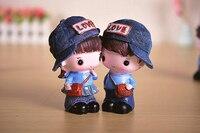 달콤한 연인 자신의 블루 모자 인형 수지 장식 홈 장식 어린이 장난감 크리스마스 선물 웨딩 선물 및 소년
