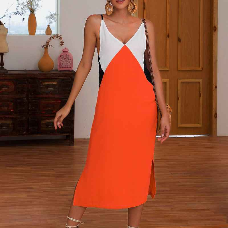 Women V Neck Contrast Color Strappy BOHO Ladies Summer Holiday Beach Midi Dress