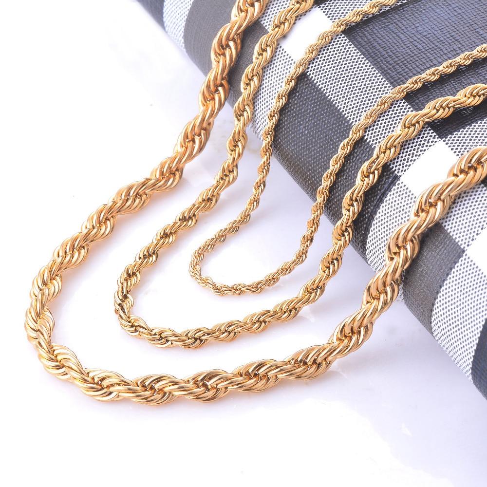 Ширина 2/4/6 мм Нержавеющаясталь золотые цепи веревки Цепочки и ожерелья заявление SWAG 316L Нержавеющаясталь витой Цепочки и ожерелья цепь золотая