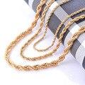 Ancho 2/4/6mm Botín Declaración de Cuerda Collar de Cadena de Oro de Acero Inoxidable 316L Acero Inoxidable Collar Trenzado cadena de Oro