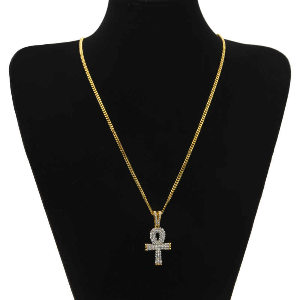 high quality Gold color hip hop Egyptian Ankh Key cross pendant necklace with 24inch long cuban link chain for unisex jewelry
