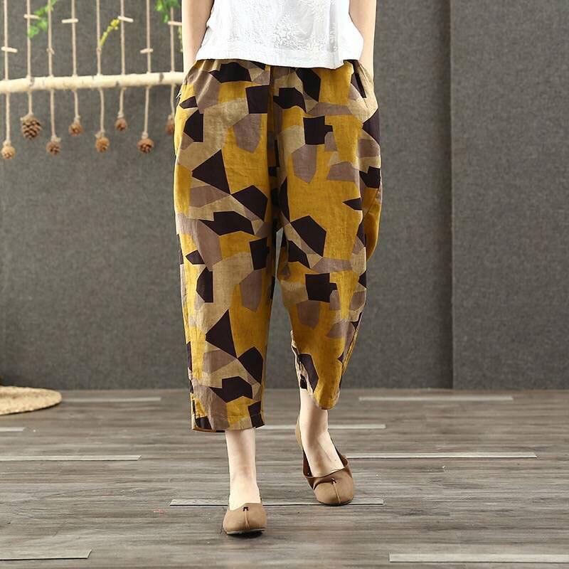 F&je Spring Summer Women   Pants   Plus Size Elastic Waist Geometric Cotton Linen Harem   Pants   Vintage print Loose   Wide     Leg     Pants   D44