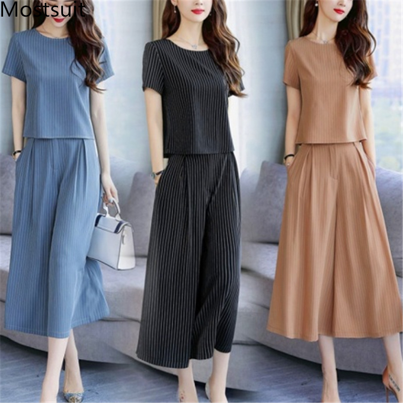 2019 Summer Striped Two Piece Sets Women Plus Size Short Sleeve Tops And Wide Leg Cropped Pants Suits Office Elegant Women's Set 41
