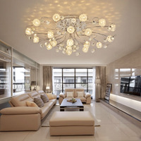 ZX Luxury Romantic Crystal Ceiling Lamp European LED Remote Control G4 Lighting Bedroom Restaurant Living Room Flower Chandelier