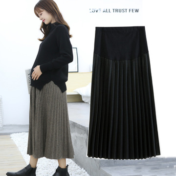 Maternity Skirt Long Fashion Wool Pleated Maternity Skirts For Pregnant Women Large Size A-line Pregnancy Skirt 2019 New Arrival