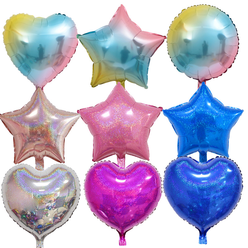 18inch Shiny Laser Star& heart Balloons Inflatable Helium Balloon Valentine's Day Wedding Birthday Party Decor glitter balloon