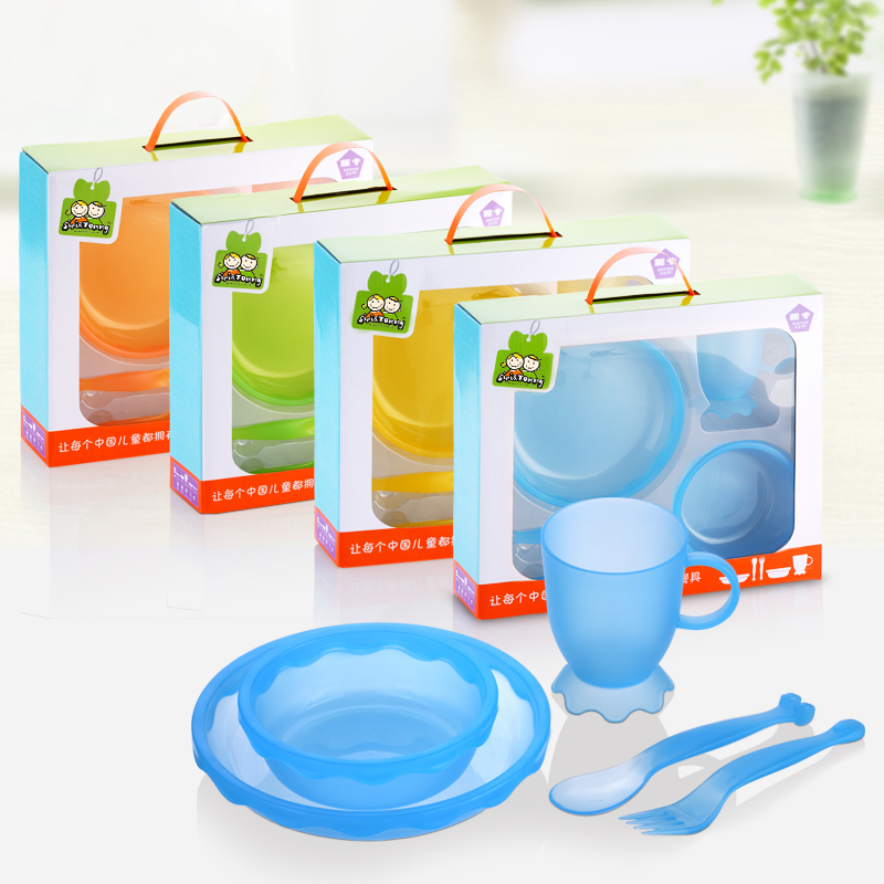 New Children Tableware BPA Free Plastic Baby Food Set Kids Dinnerware Plate Bowl Cup Fork Spoon Infant Dishes For Toddlers Baby (4)