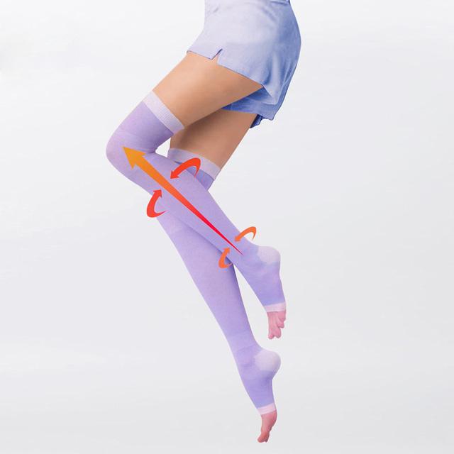 De Las nuevas Mujeres 480D Anti Varices Lycra Delgada de Copa piernas Medias de Compresión Médica Presión medias meias bas botas