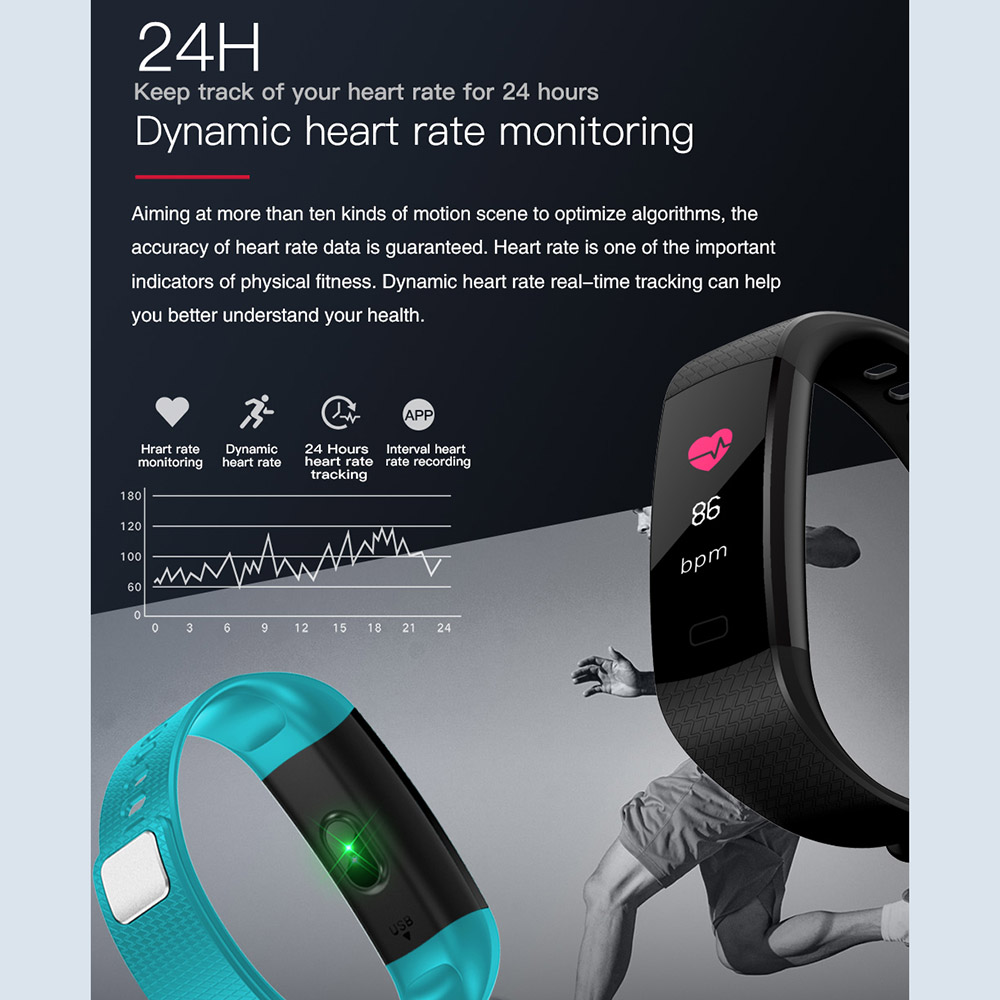 TimeOwner Smart Band Y5 Heart Rate Blood Pressure Monitor High Brightness Colorful Screen Smart Bracelet Wristband Notification 1
