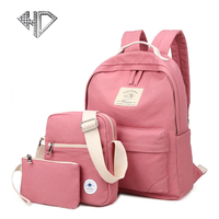 3 Pcs Set Simple Women Backpack Fresh Student School Bags Large Capacity Canvas Rucksack E