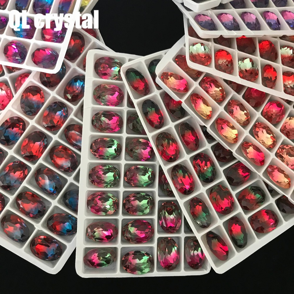 4120 k9 13x18mm Oval Tourmaline crystal beads Pointback Fancy Stone sew on rhinestone for DIY garment bags shoes Jewelry in Rhinestones from Home Garden