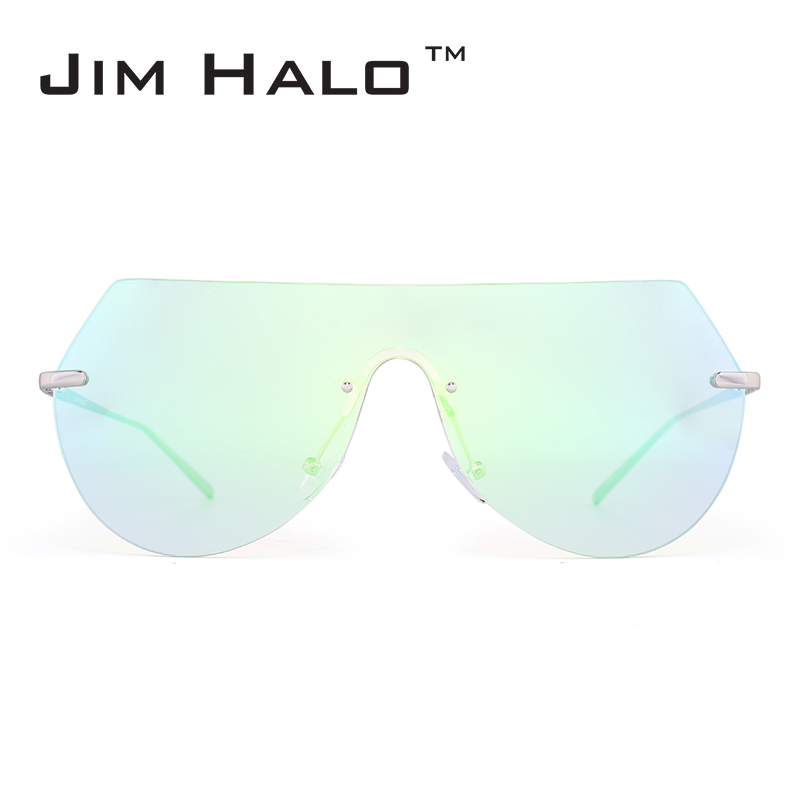 Jim Halo Oversized Rimless One Piece Flat Top Mirror Colorful Clear - Accesorios para la ropa
