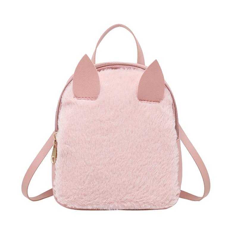 4cfba5c29b Sacs Faux À Qualité Fourrure De Black A Sac Femmes Womenbag Nouvelles Mode  Imitation Simple Multifonction Dos b Lapin Cuir Casual Pink ...