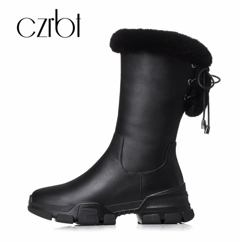 czrbt 2018 New Genuine Leather Winter Warm Shoes Woman Wedges Rivet Side Zipper Mid-Calf Fashion Casual Women Snow Bootsczrbt 2018 New Genuine Leather Winter Warm Shoes Woman Wedges Rivet Side Zipper Mid-Calf Fashion Casual Women Snow Boots