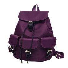 Бренд рюкзак женские рюкзаки однотонная винтажная школьные сумки для подростков девочек drawstring сумка женский путешествия рюкзак Mochilas