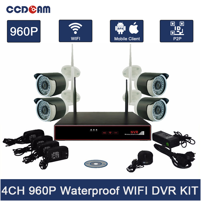 4CH Wifi NVR Kit Security System 960P Wifi IP Camera with 4CH Wifi NVR Wireless AP 2.4ghz Wireless Camera Kit CCTV Complete Set wireless wifi