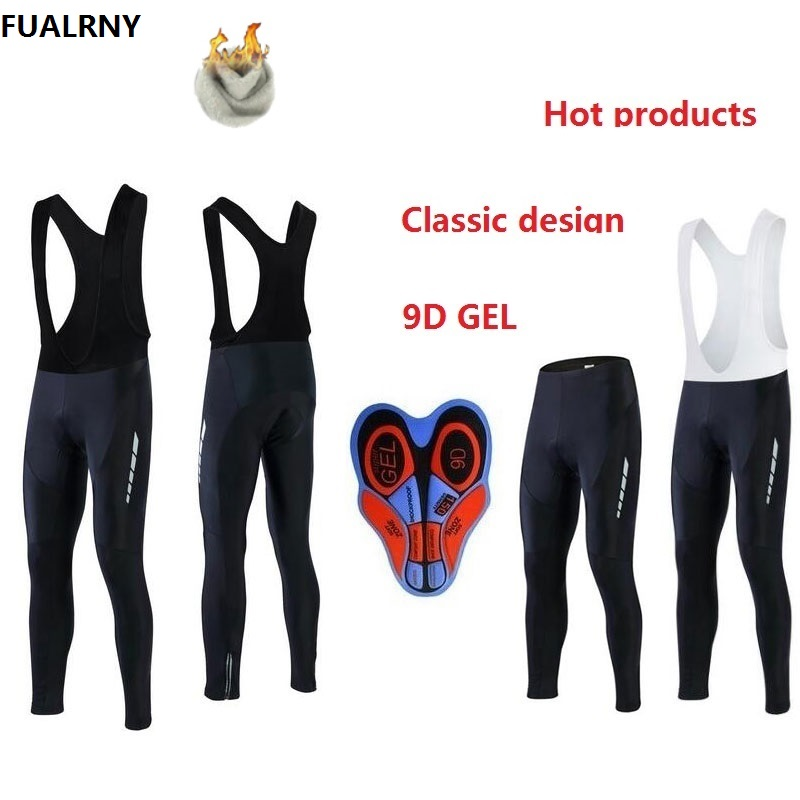FUALRNY 2018 Winter Men Padded Cycling Long Bicycle Bib Pants 9D Gel Pad Bike Tights Mtb Ropa Pantalon Thermal Fleece