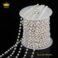 5Meters 4mm White Pearl Chains Jewelry,Wire Wrapped Round Pearl Beads Plated Brass Links Chains Making Necklace Supplies BH03