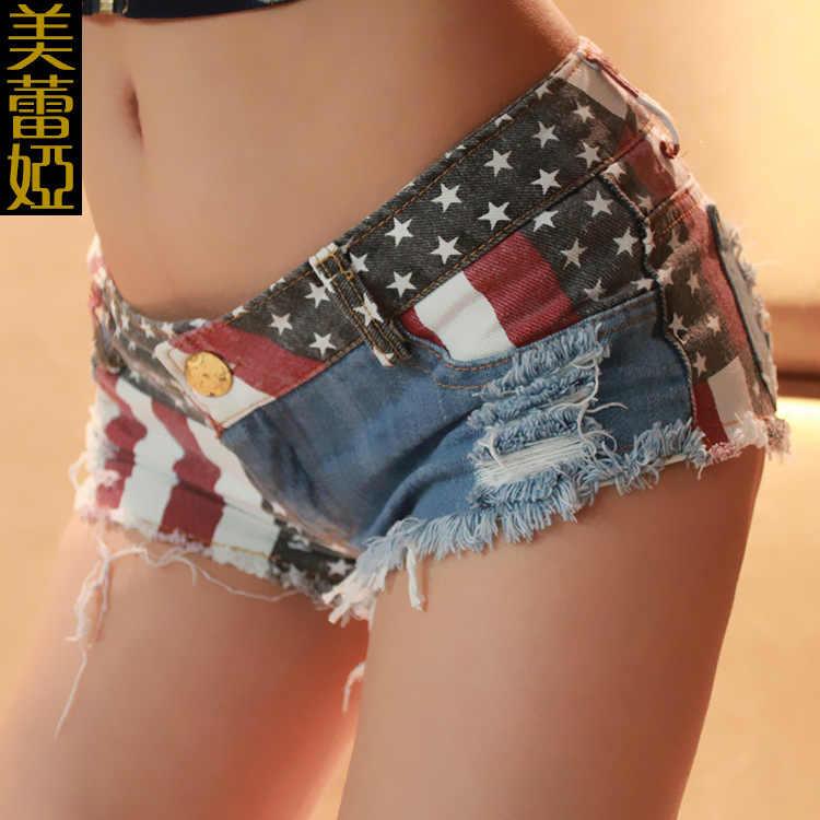 1 個女性穴ショーツ夏の純粋な綿穴のジーンズのショートセクシーな旗ストライプは女性のショートパンツ女性