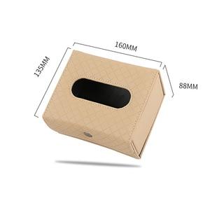 Image 3 - Car Armrest box tissue box Creative holder Leather seat back hanging pater towel case Storage bag for car interior accessores