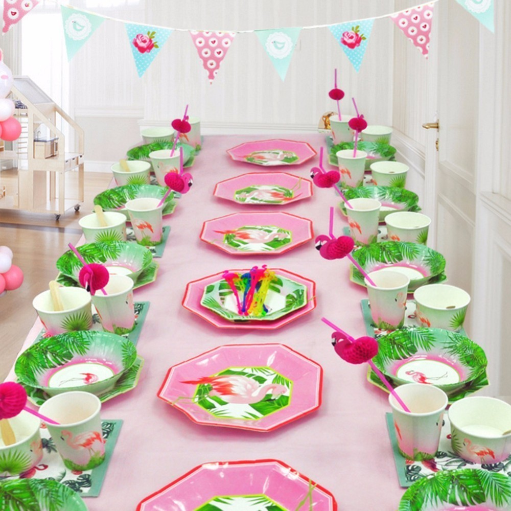 Us 4 42 46 Off 8 Persons Design Flamingo Theme Birthday Party Festival Disposable Plate Set Decoration Supplies Set Table Arrangement Set In Party