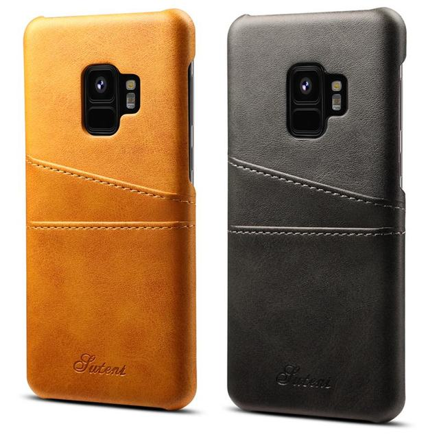 separation shoes 0976d 7ef47 US $7.51 6% OFF|2018 New Leather Card Skin Cover Cases For Samsung Galaxy  S9 Case Protect Coque Cover For Samsung Galaxy S9 Plus Fitted Case-in ...
