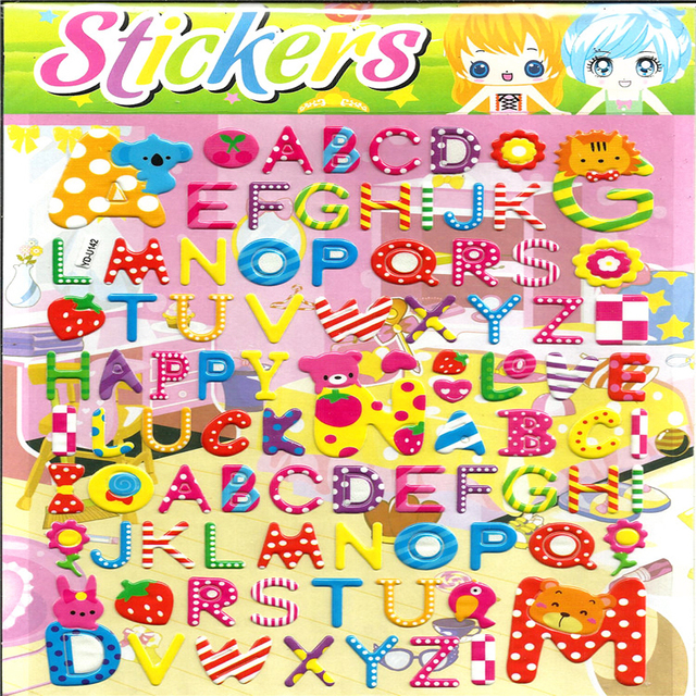 super large size cartoon English alphabet English letters sticker 3D bubble stickers scrapbooking for kids 32.5cm*21.5