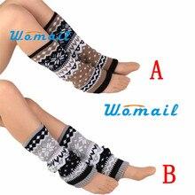 stylish fashion women knitting snowflake shape footless knee socks leg warmers  boot cover