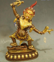 (wholesale_jewelry_wig ) 12Tibet Buddhism Temple Old Purple Bronze 24K Gold gladness King Buddha Statue
