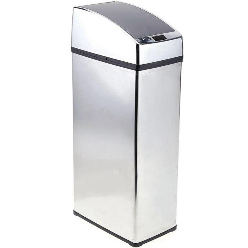 Qualité 6L acier inoxydable capteur intelligent poubelle Auto sans fil Induction poubelle panier poubelle poubelle support poubelle