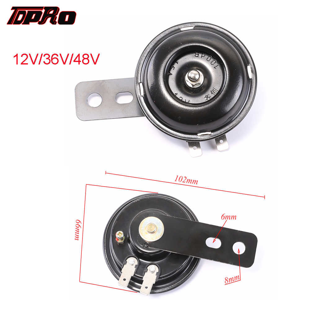 TDPRO 12 V/36 V/48 V Audio Motociclo Elettrico Corno Warn Forte 100db/105db Tromba Fit scooter Ciclomotori ATV Go-Kart Dirt Pocket Bike