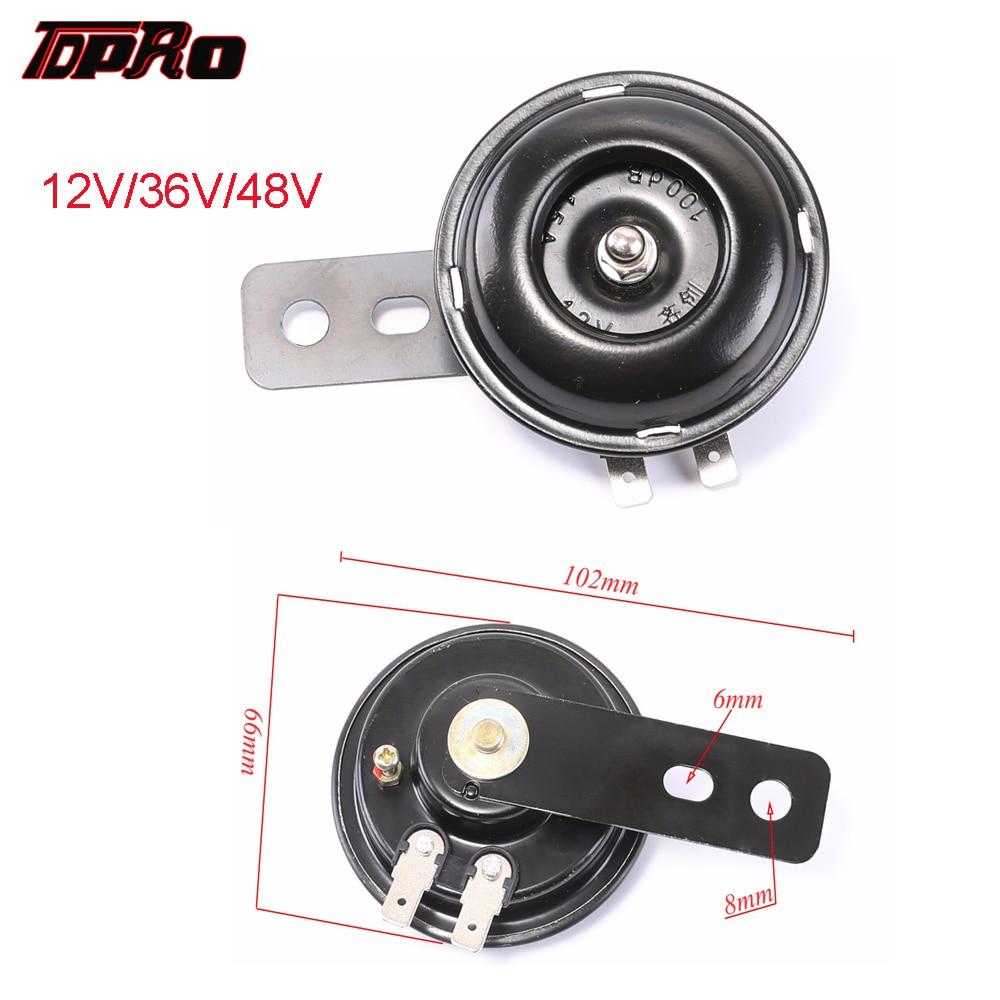 TDPRO 12V/36V/48V Audio Electric Motorcycle Horn Warn Loud 100db/105db Trumpet Fit Scooter Mopeds ATV Go-Karts Dirt Pocket Bike