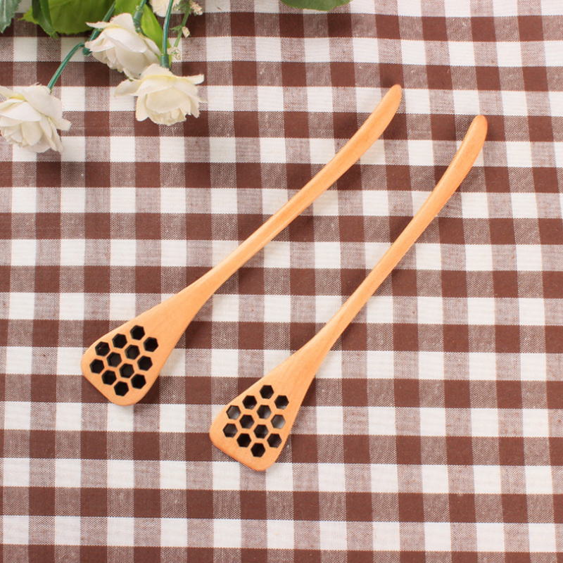 Natural Wood Honey Spoon High Quality Carved Honeycomb Pattern Long-Handled Coffee Milk Tea Stir Bar Kitchen Dining Utensils Hot