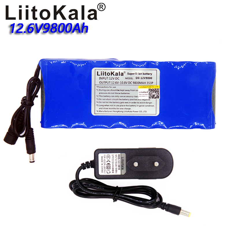 Liitokala <font><b>12V</b></font> 9800Mah <font><b>Battery</b></font> <font><b>Pack</b></font> Portable Rechargeable Lithium 3S3P Capacitor DC CCTV Camera Monitor image