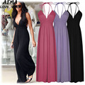 Europe And American 2017 New Fashion Bohemian Wind Female Sexy Leisure Deep V High Waist Sleeveless Long Skirt Big Swing S-XL