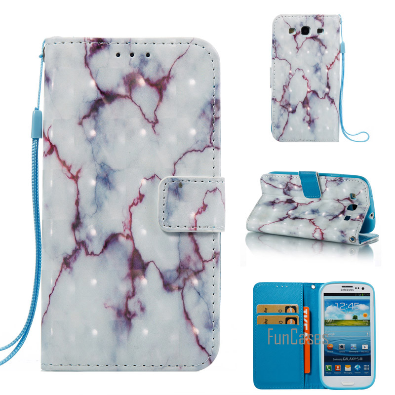 Case For Coque Samsung Galaxy S3 Marble Stone Granite PU Leather Cover For Samsung S3 SI ...