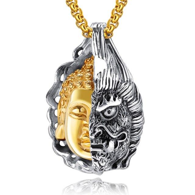 c069f7bed44a Medio Buda diablo colgantes collares budismo personalidad Vintage joyería  titanio acero hombres collar