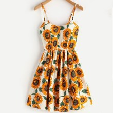 2019 Backless Sunflower Print Dress Women V Neck Off Shoulder Strap Mini Dress A-Line Dresses sunflower print strap dress
