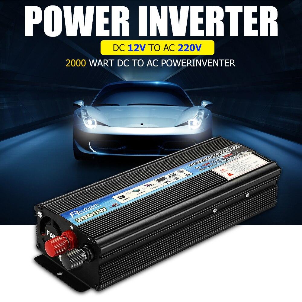 Rectángulo de coche inversor 2000 W DC 12 V a AC 220 V inversor de corriente del convertidor de cargador resistente y Durable del vehículo interruptor de suministro de energía