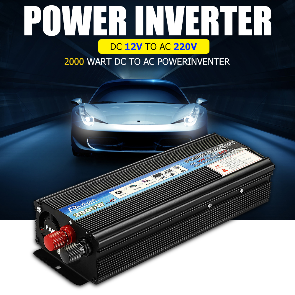 Rectangle Car Inverter 2000W DC 12V to AC 220V Power Inverter Charger Converter Sturdy and Durable Vehicle Power Supply SwitchRectangle Car Inverter 2000W DC 12V to AC 220V Power Inverter Charger Converter Sturdy and Durable Vehicle Power Supply Switch