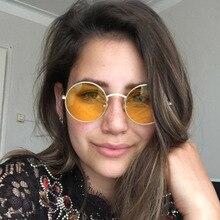 FEISHINI Superstar Brand Designer Sunglasses Women Round Retro Metal Decorative Pattern Eyewear Vintage Steampunk Men Colored
