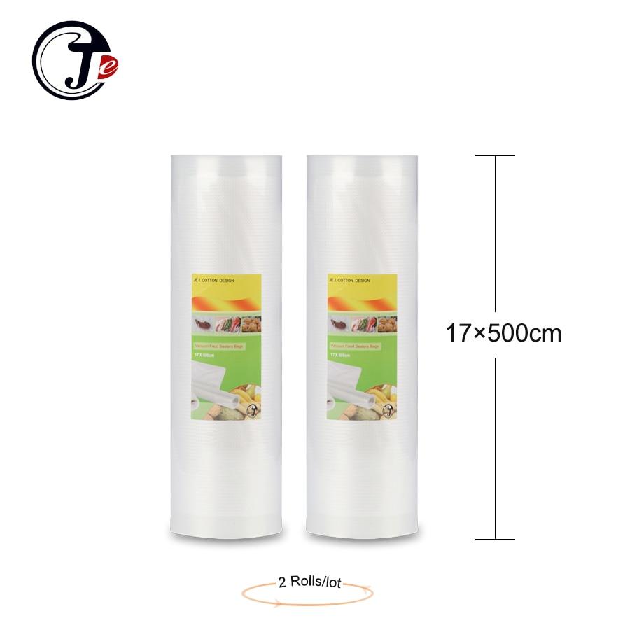 2 valjčne vrečke 17 * 500CM za vakuumske embalaže, ki ohranjajo kakovostne ovoje Stroj za zapiranje hrane, vakuumske vrečke za hrano