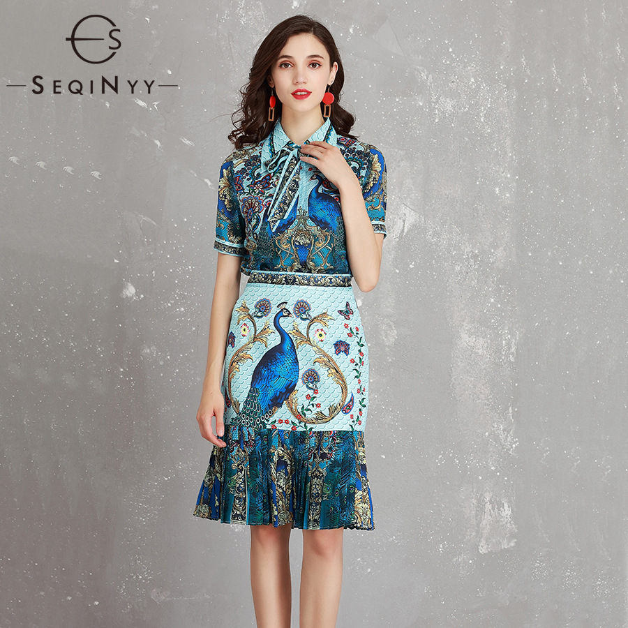SEQINYY Print Skirt Set 2018 Summer Women's Dress Retro Bow Peacock Print Shirt + Sheath Fishtail Knee Skirt Blue Suit checkered fishtail hem skirt