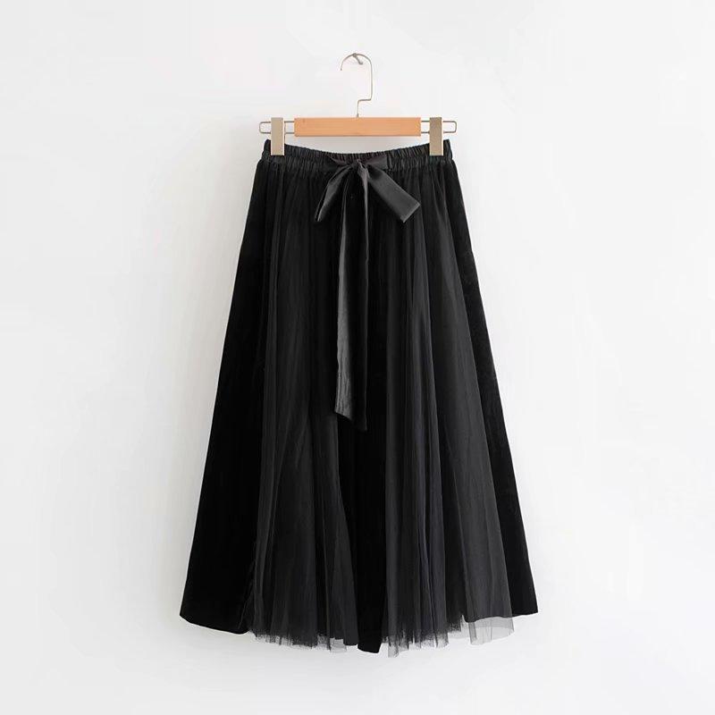 caqui Con Falda Negro Caqui Negro Párr De Velvetl Color Faldas Grandes Lazo Mujer Bloque Patchwork Tallas Flare Gtgyff Paraguas Midi Para fC1RwqP