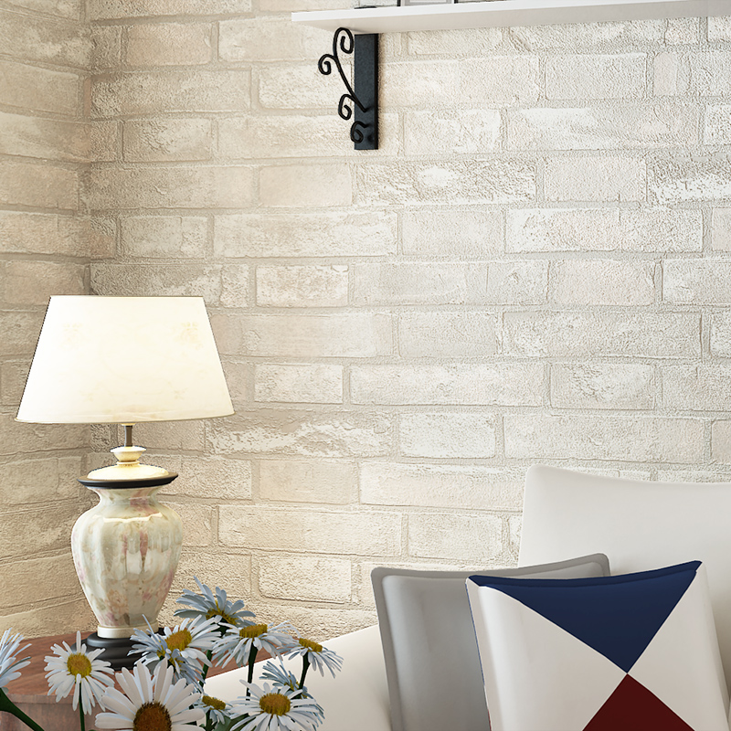 PVC Wallpaper 3D Embossed Imitation Brick Stone Vintage Wallpaper Roll Living Room Restaurant Background Wall Papel De Parede 3D