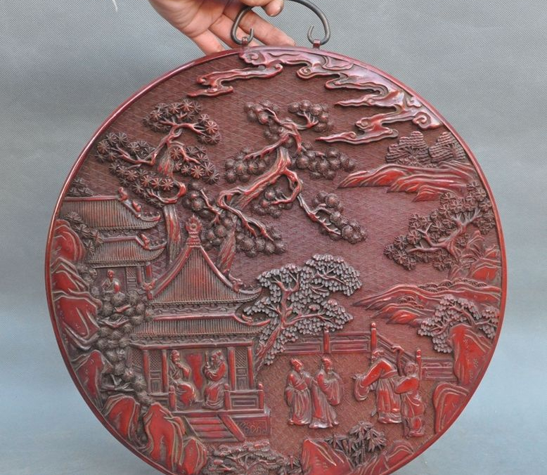 Old Chinese Lacquerware Carved Pine Classical people Pattern Statue Wall hanging|statue of liberty 3d puzzle|statue lion|statue of liberty charms - title=