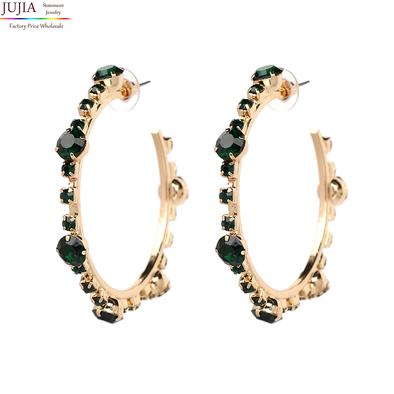JUJIA 4 colors New Hot sale crystal earrings statement pendant fashion christams crystal earring jewelry wholesale