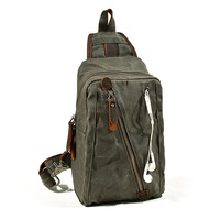 2018 New Men Vintage Wax Canvas Chest Pack Retro Waterproof Chest Bag with Earphone Hole Male Crossbody Sling Bag