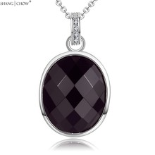 2016 Summer Fashion Jewelry Oval Sharp Black Onyx Stone 925 Sterling Silver Pendant for women Career Wear Accessories P448