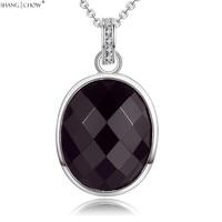 2017 Mode-sieraden Ovale Sharp Black Onyx Stone 925 Sterling Zilveren Hanger voor vrouwen Carrière Dragen Accessoires P448